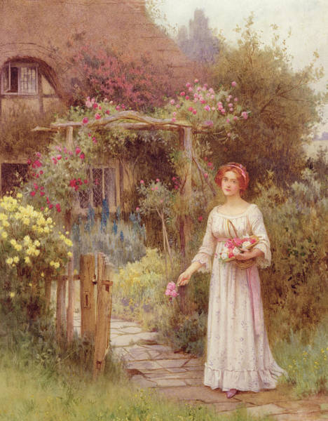 Horticulture Drawing - At The Garden Gate by William Affleck