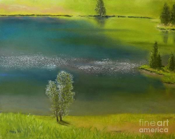 Wall Art - Pastel - At The Lake Lauenen by Sabina Haas
