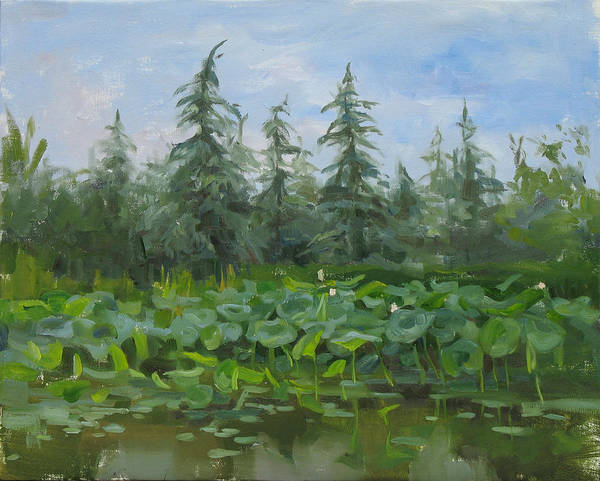 Wall Art - Painting - At The Lake by Victoria Kharchenko