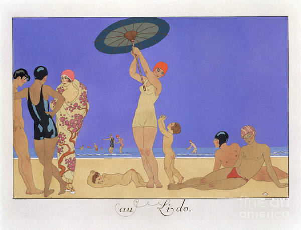 Beautiful Woman Wall Art - Painting - At The Lido by Georges Barbier