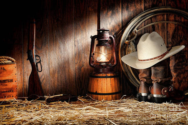 Cowboy Hat Photograph - At The Old Ranch by Olivier Le Queinec