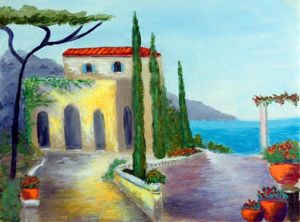 Painting - At The Seaside Amalfi by Larry Cirigliano