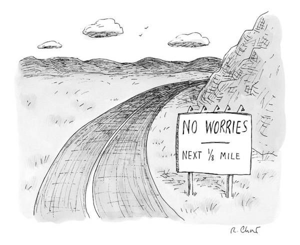 Side Drawing - At The Side Of A Stretch Of Rural Road by Roz Chast