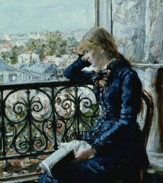 Drapes Painting - At The Window by Hans Olaf Heyerdahl