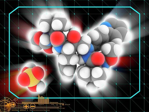 Wall Art - Photograph - Atazanavir Sulfate Drug Molecule by Laguna Design/science Photo Library