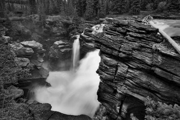 Photograph - Athabasca Falls - Black And White #2 by Stuart Litoff