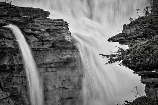 Photograph - Athabasca Falls - Black And White by Stuart Litoff