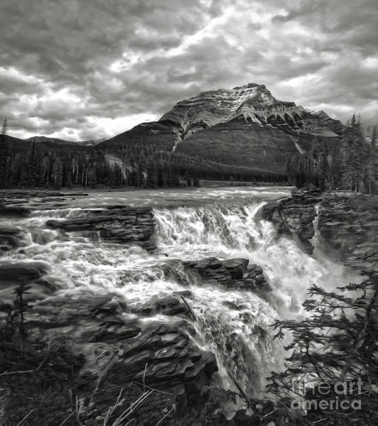Painting - Athabasca Falls - Jasper National Park - Black And White by Gregory Dyer