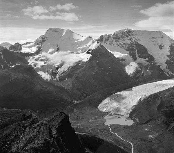 Photograph - T-303504-bw-athabasca Glacier In 1957  by Ed  Cooper Photography