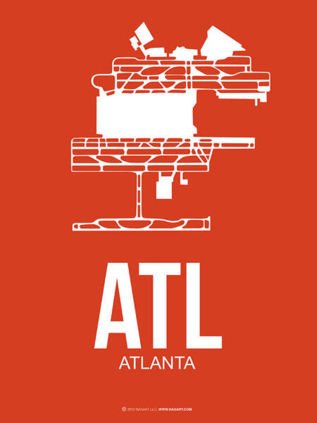 Landmarks Digital Art - Atl Atlanta Airport Poster 3 by Naxart Studio