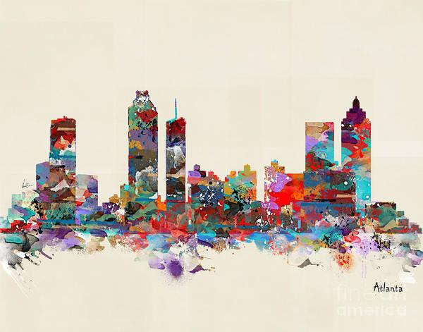 Atlanta Digital Art - Atlanta Georgia Skyline by Bri Buckley