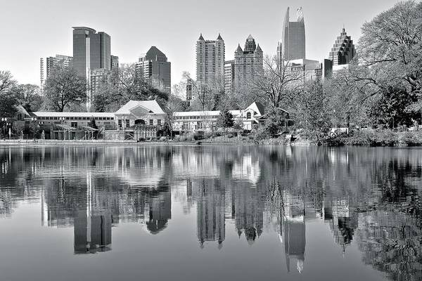Municipality Photograph - Atlanta Reflecting In Black And White by Frozen in Time Fine Art Photography