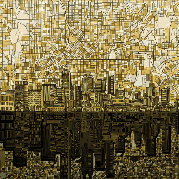 Detail Digital Art - Atlanta Skyline Abstract by Bekim Art