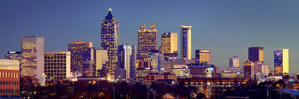 Nighttime Photograph - Atlanta Skyline At Dusk Downtown Color Panorama by Jon Holiday