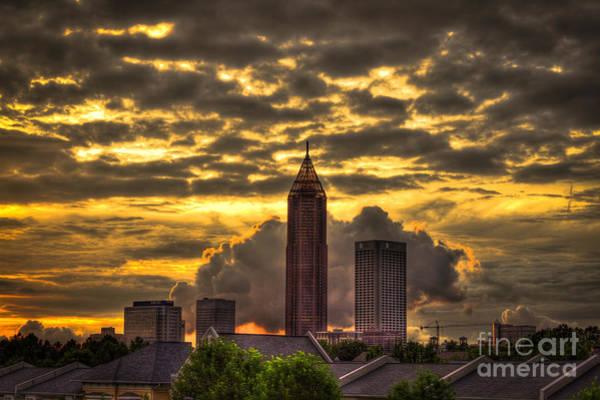 Georgia Power Company Photograph - Atlanta Sunset Bank Of America And Att by Reid Callaway
