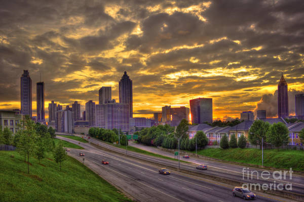 Georgia Power Company Photograph - Atlanta Sunset Skyline by Reid Callaway