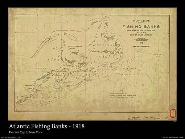Noaa Chart Wall Art - Photograph - Atlantic Fishing Banks 1918 by Adelaide Images