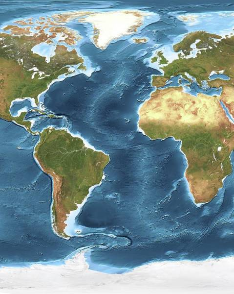 Noaa Chart Wall Art - Photograph - Atlantic Ocean Sea Floor Topography by Planetary Visions Ltd/science Photo Library