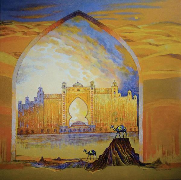 Atlantis And Camels Dubai Art Print