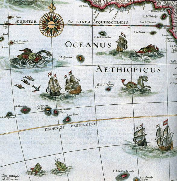 Atlantic Ocean Drawing - Atlas Aethiopian Sea, 1662 by Granger