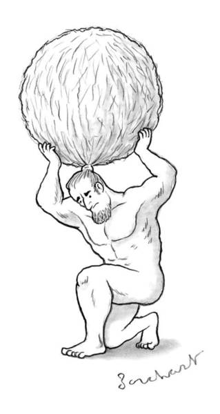 Hair Drawing - Atlas Holds Up His Hair In A Huge Balled Up Bun by David Borchart