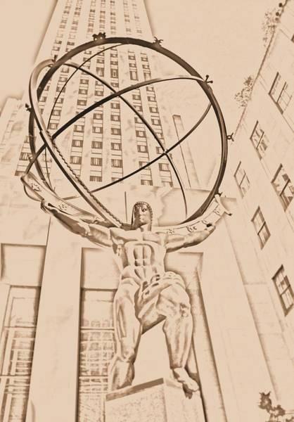 Midtown Manhattan Digital Art - Atlas In New York City by Dan Sproul