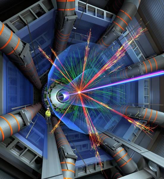 Proton Photograph - Atlas Particle Collision Simulation by David Parker