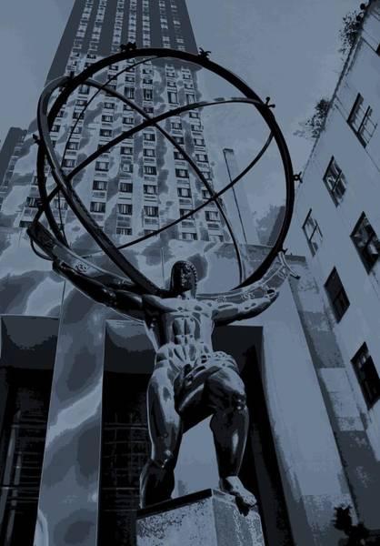 Midtown Manhattan Digital Art - Atlas Rockefeller Center Poster by Dan Sproul