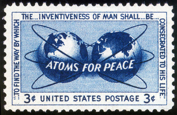 Wall Art - Photograph - Atoms For Peace, U.s. Postage Stamp by Science Source