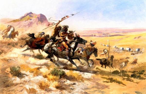 Digital Art - Attack On A Wagon Train by Charles Russell