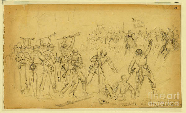 Confederate Soldier Drawing - Attack On The Rear Guard. Amelia Ct. Ho. by Celestial Images