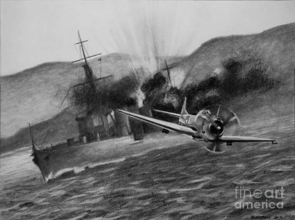 Sbd Wall Art - Drawing - Attack On The Yura by Stephen Roberson