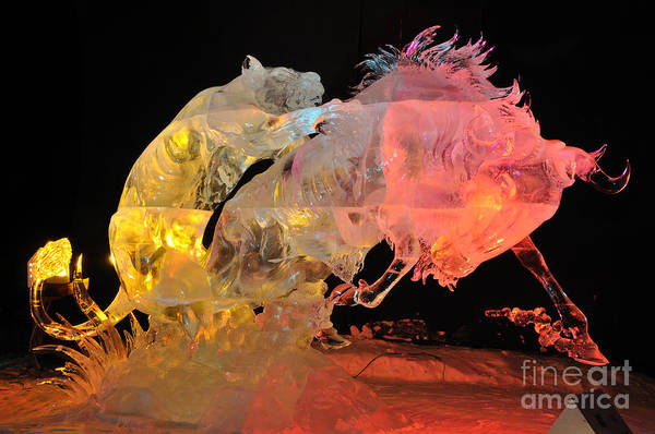 Ice Carving Photograph - Attacking Claws Ice Sculpture - Fairbanks Ice Art Championships - 2010 by Gary Whitton