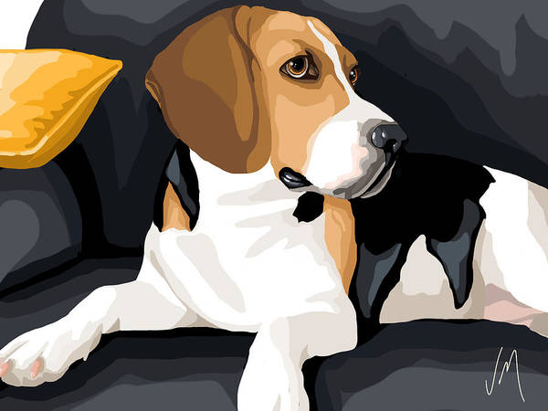 Beagle Painting - Attention by Veronica Minozzi