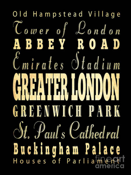 Emirates Stadium Wall Art - Digital Art - Attraction And Famous Places Of Greater London England by Joy House Studio