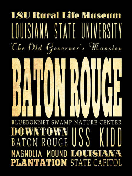 Baton Rouge Digital Art - Attractions And Famous Places Of Baton Rouge Louisiana by Joy House Studio