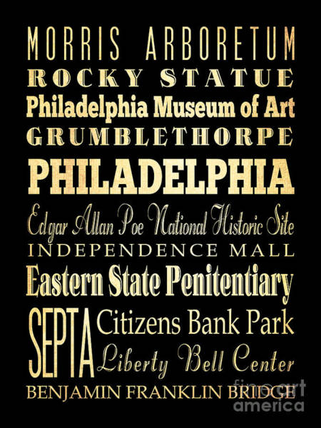 Citizens Bank Park Digital Art - Attractions And Famous Places Of Philadelphia Pennsylvania by Joy House Studio