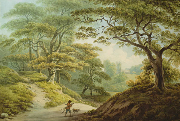 Woods Drawing - Auckland Castle, Co. Durham - View by John Warwick Smith