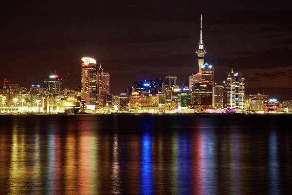 Central Business District Wall Art - Photograph - Auckland Cbd, Skytower, And Waitemata by David Wall