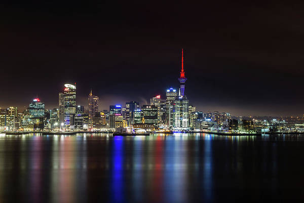 Harbor Photograph - Auckland City At Night - 40mm by Mike Mackinven
