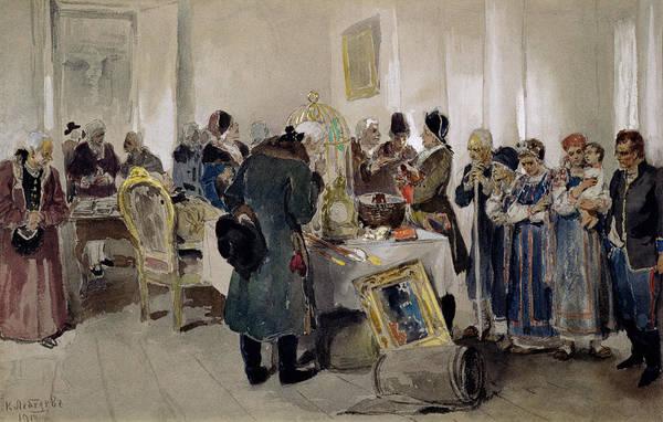 Traffic Painting - Auction Of Serfs by Klavdiy Vasilievich Lebedev