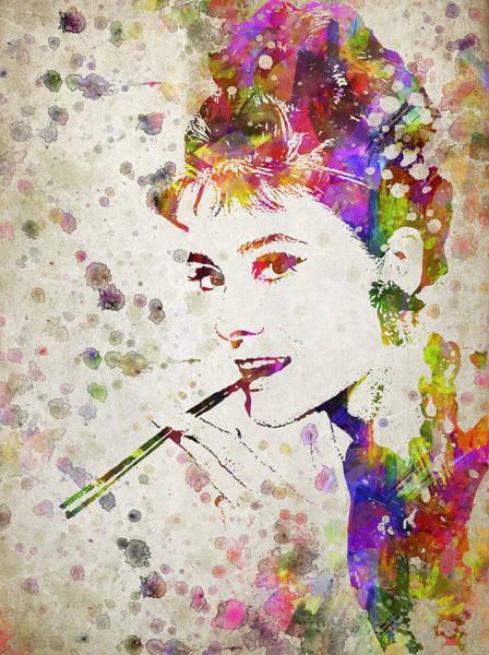 Wall Art - Digital Art - Audrey Hepburn In Color by Aged Pixel