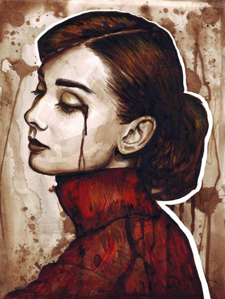 Mixed Media Painting - Audrey Hepburn Portrait by Olga Shvartsur