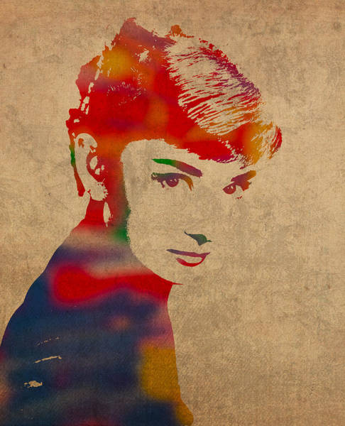 Distress Mixed Media - Audrey Hepburn Watercolor Portrait On Worn Distressed Canvas by Design Turnpike