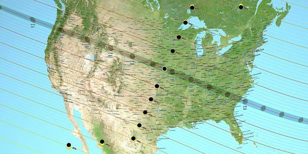 Totality Photograph - August 2017 Total Solar Eclipse Path by Nasa's Scientific Visualization Studio/science Photo Library