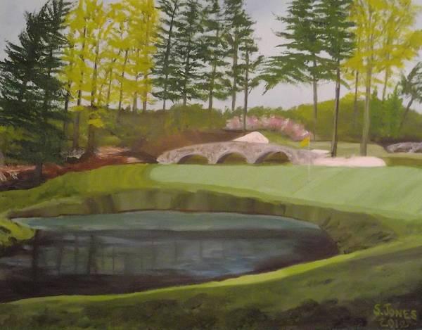 Augusta Masters Painting - Augusta National Amen Corner Hole 12 by Sally Jones