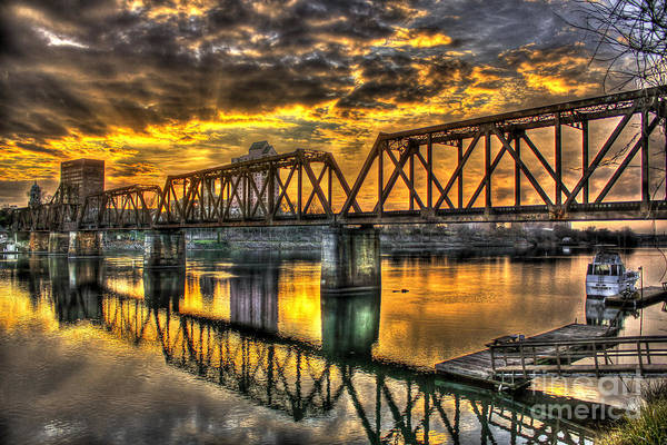 Photograph - Augusta Sunset Reflections 6th Street Railroad Bridge Savannah River Georgia Art by Reid Callaway