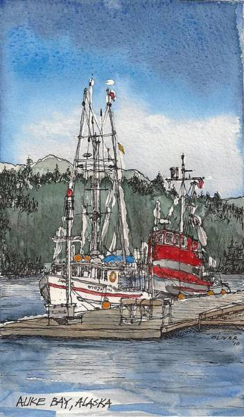 Pen And Ink Mixed Media - Auke Bay  by Tim Oliver