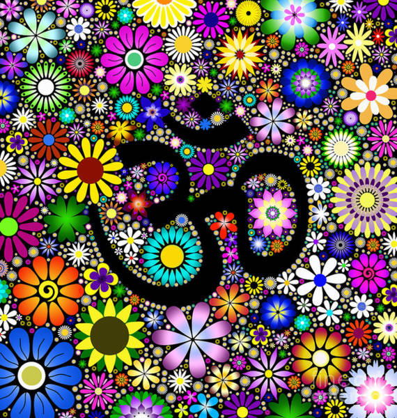 Om Wall Art - Digital Art - Aum Flowers by Tim Gainey
