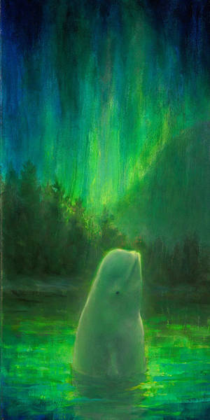 Sealife Painting - Aurora Beluga by Karen Whitworth